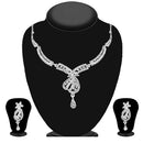 Kriaa Silver Plated White Austrian Stone Necklace Set - 1114727B