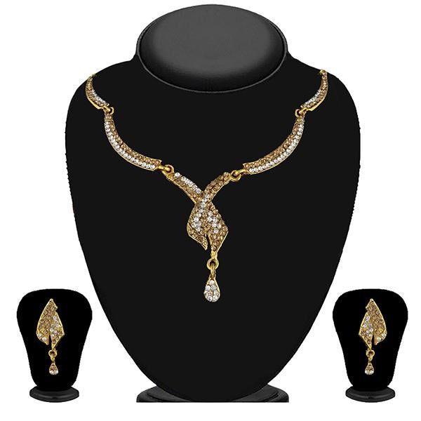 Kriaa Gold Plated Brown Austrian Stone Necklace Set - 1114728A