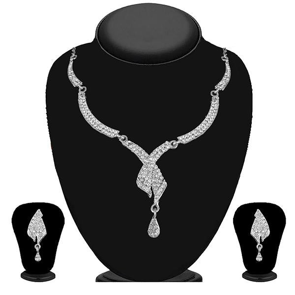Kriaa Silver Plated White Austrian Stone Necklace Set - 1114728B