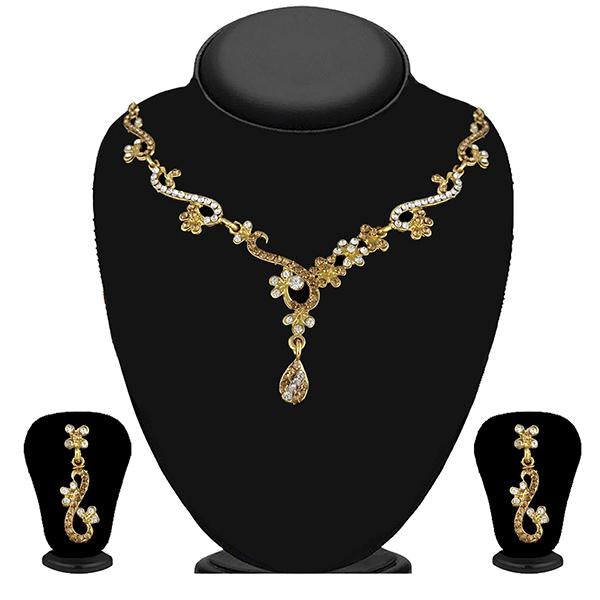 Kriaa Gold Plated Brown Austrian Stone Necklace Set - 1114729A