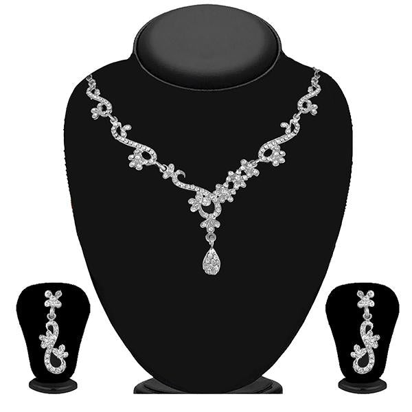 Kriaa Silver Plated White Austrian Stone Necklace Set - 1114729B