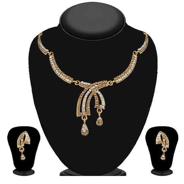 Kriaa Gold Plated Brown Austrian Stone Necklace Set - 1114730A