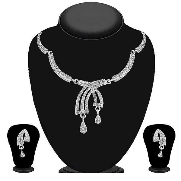 Kriaa Silver Plated White Austrian Stone Necklace Set - 1114730B