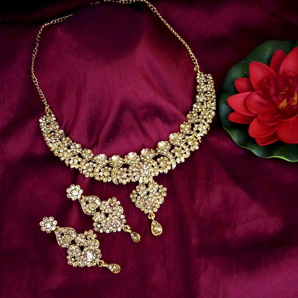 Kriaa Austrian Stone Gold Plated Designer Necklace Set-1114732A