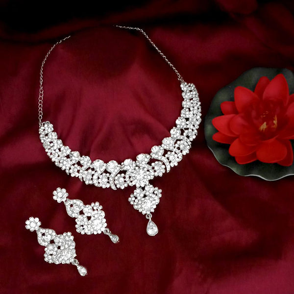 Kriaa Austrian  Stone Silver Plated Designer Necklace Set-1114732B