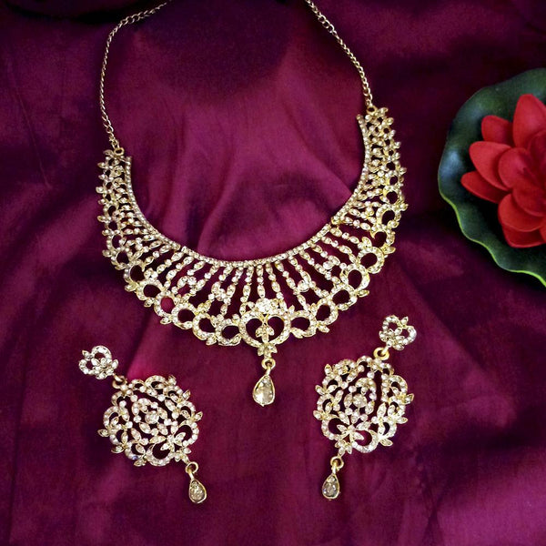 Kriaa Austrian Stone Gold Plated Designer Necklace Set-1114733A