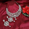 Kriaa Austrian Stone Silver Plated Designer Necklace Set-1114733B
