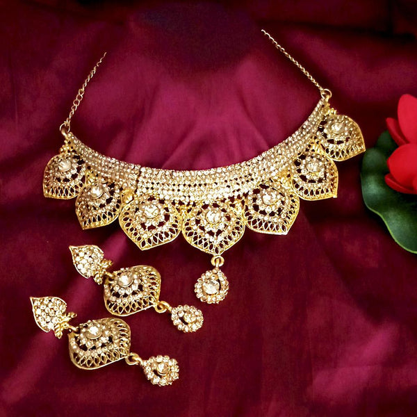 Kriaa Austrian Stone Gold Plated Designer Necklace Set-1114735A