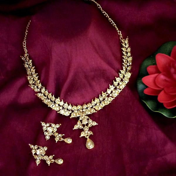 Kriaa Austrian Stone Gold Plated Designer Necklace Set-1114736A