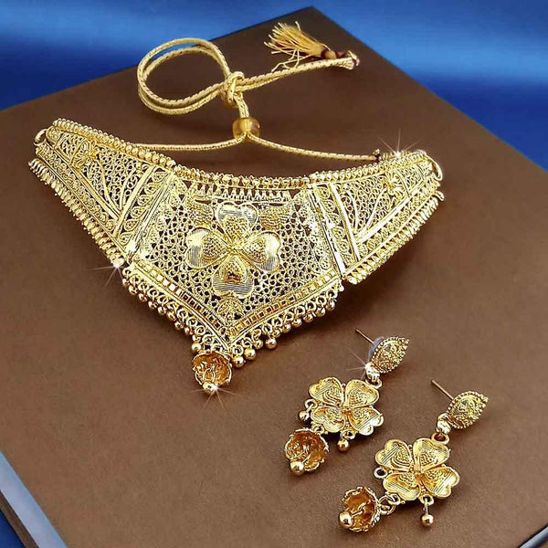 Kalyani Forming Gold Plated Traditional Designer Necklace & Earring Set -1115003