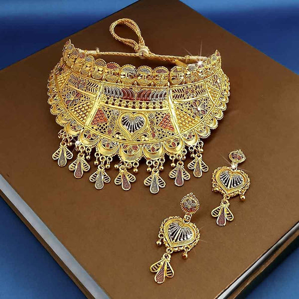 Kalyani Forming Gold Plated Traditional Designer Necklace & Earring Set -1115004