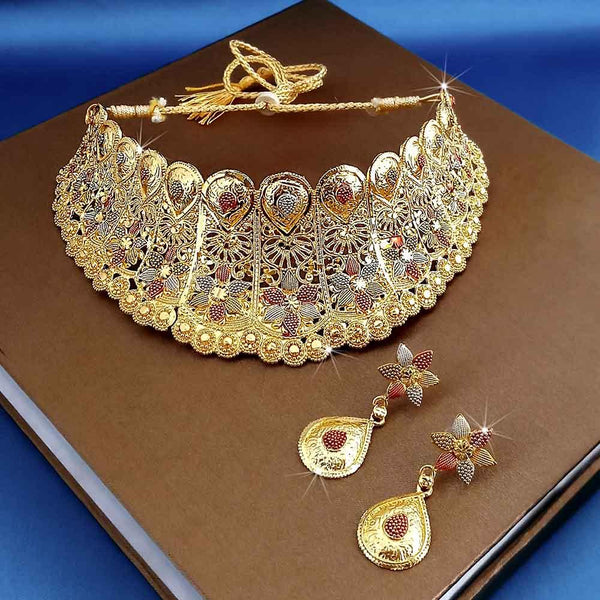 Kalyani Forming Gold Plated Traditional Designer Necklace & Earring Set -1115005
