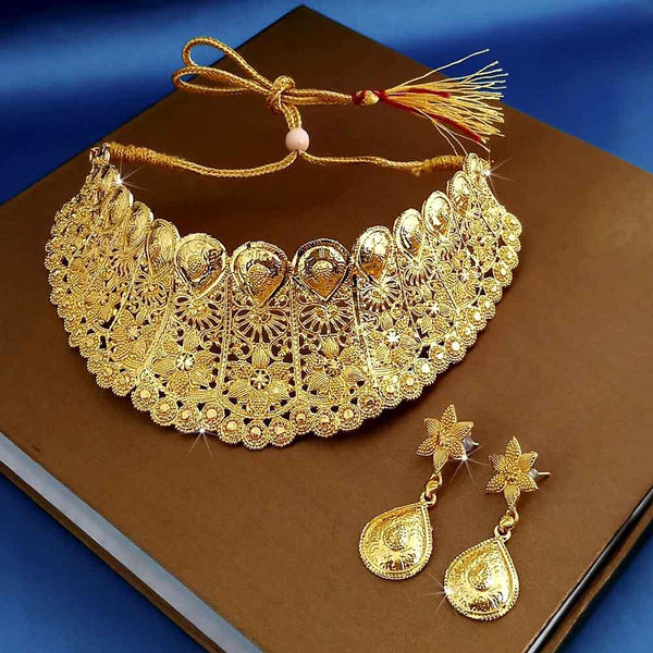 Kalyani Forming Gold Plated Traditional Designer Necklace & Earring Set -1115006