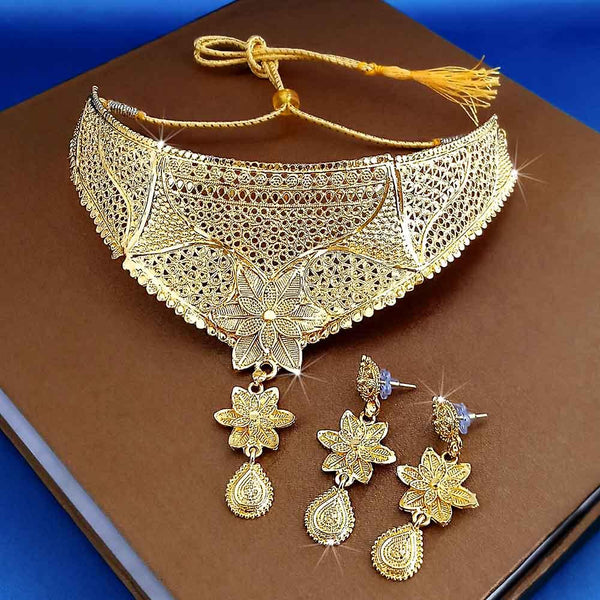 Kalyani Forming Gold Plated Traditional Designer Necklace & Earring Set -1115007