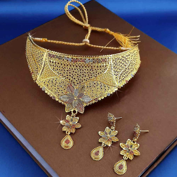 Kalyani Forming Gold Plated Traditional Designer Necklace & Earring Set -1115008