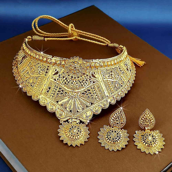 Kalyani Forming Gold Plated Traditional Designer Necklace & Earring Set -1115009