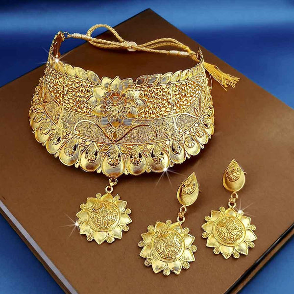 Kalyani Forming Gold Plated Traditional Designer Necklace & Earring Set -1115010