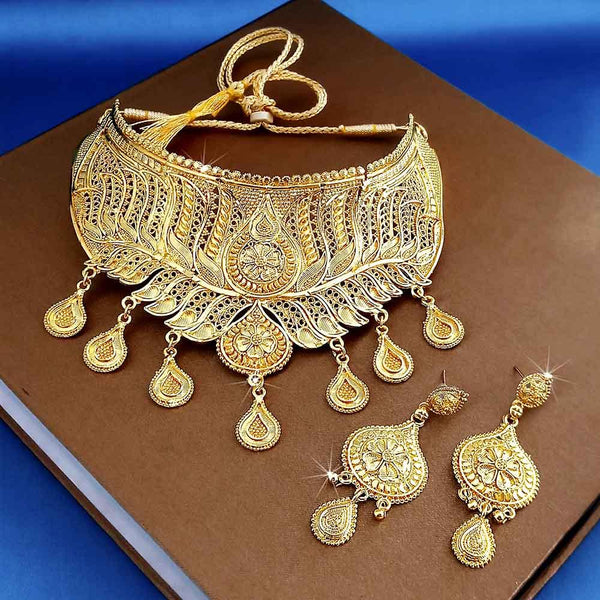 Kalyani Forming Gold Plated Traditional Designer Necklace & Earring Set -1115013