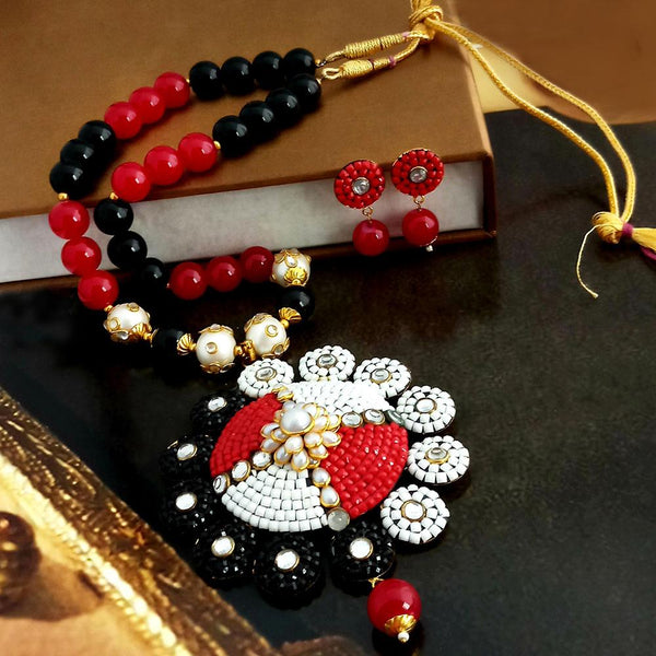 Native Haat Multi Beads Floral Necklace Set
