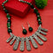 Native Haat Oxidised Plated Green Beads Stylish Necklace Set