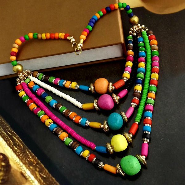 Native Haat Multi Beads Five Layered Necklace Set