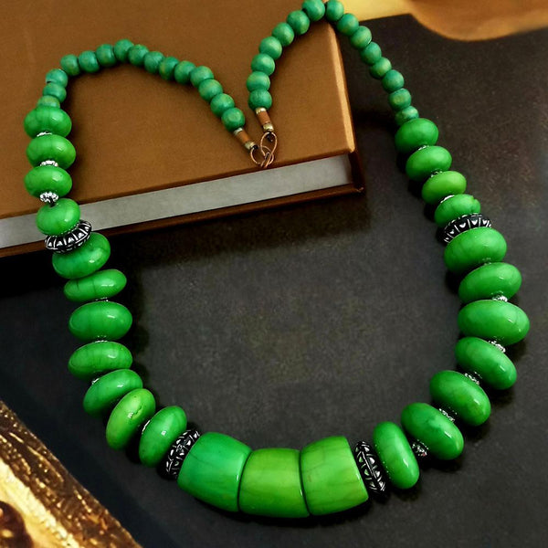 Native Haat Oxidized Plated Green Beads Necklace Set