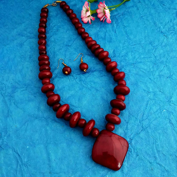 Native Haat Oxidised Plated Red Beads Necklace Set