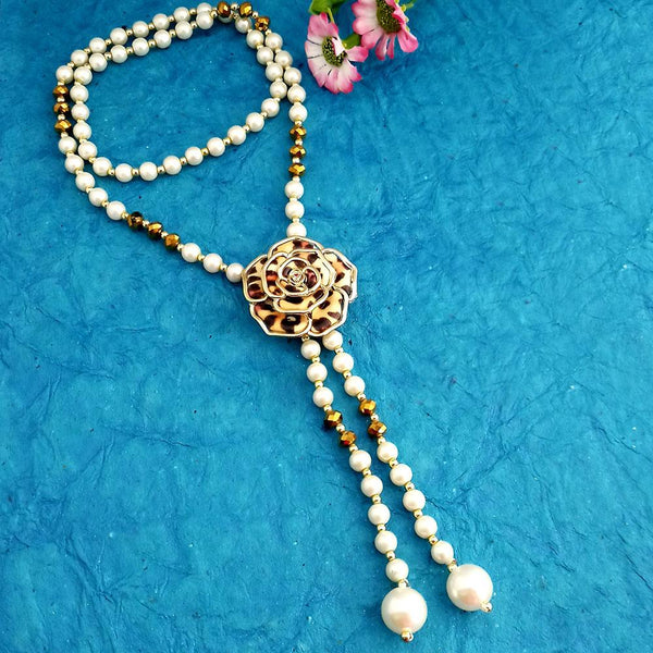 Native Haat Floral White Beads Necklace Set