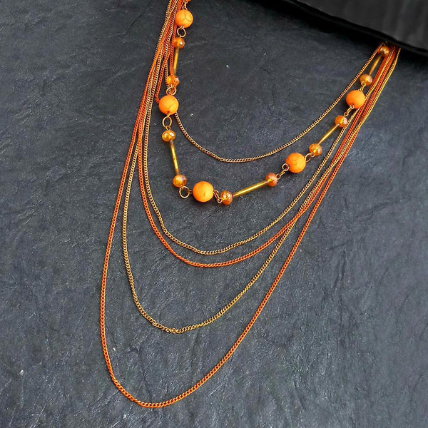 Native Haat Multi Layared Orange Beads Necklace