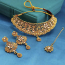 JD Arts Austrian Stone Choker Gold Plated Necklace With Maangtikka