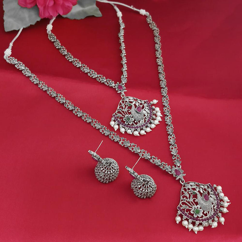 Tisha Oxidised Plated Pink & Green Pota Stone Necklace Set - 1115331
