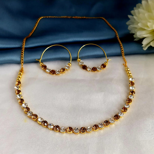 Kriaa Brown Gold Plated Austrian Stone Necklace Set