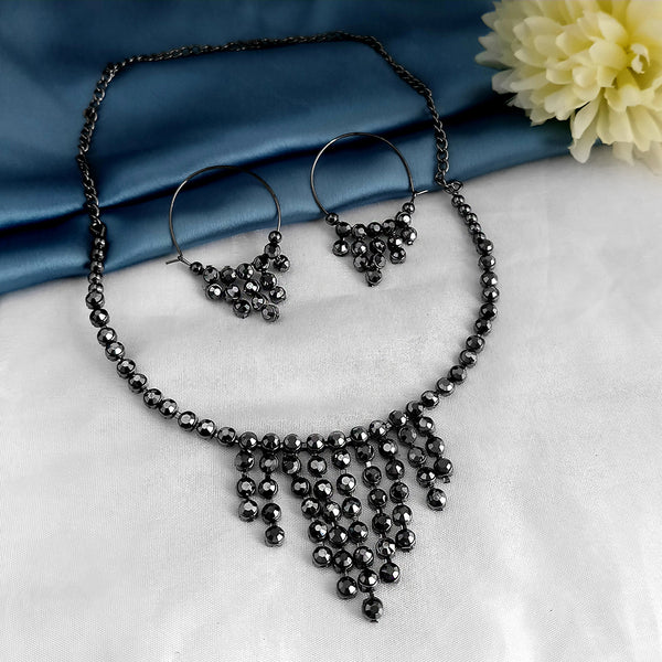 Kriaa Black Marcasite Stone Necklace Set