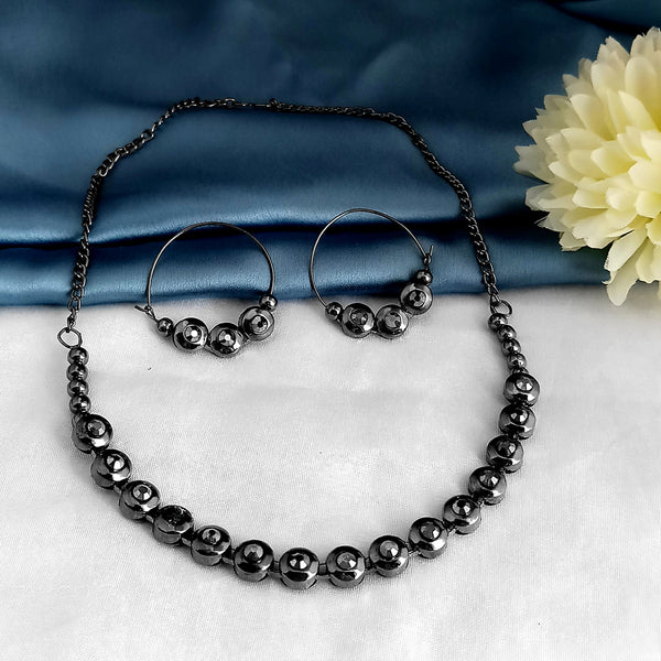 Kriaa Black Plated Marcasite Necklace Set