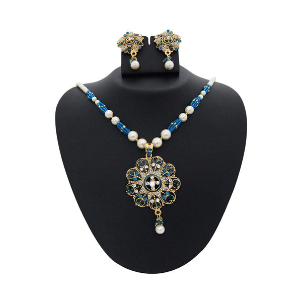 The99Jewel Blue Meenakari Austrian Stone Pearl Necklace Set