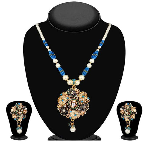 The99Jewel Meenakari Austrian Stone Pearl Necklace Set - 1200106 - ES