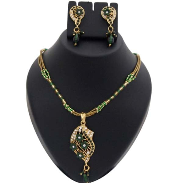 Kriaa Austrian Stone Floral Gold Plated Pendant Set