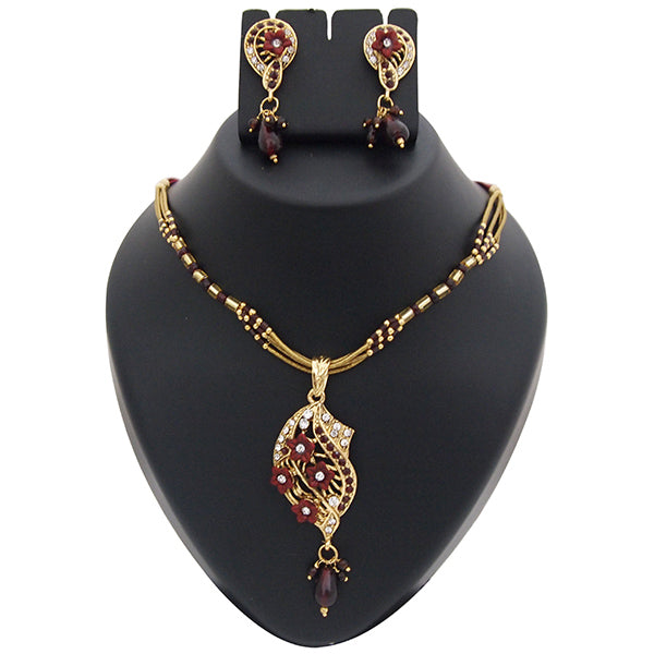 Kriaa Maroon Austrian Stone Floral Gold Plated Pendant Set