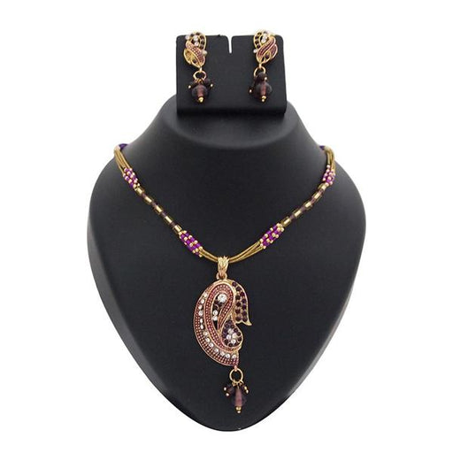 The99Jewel Purple Meenakari Stone Gold Plated Necklace Set