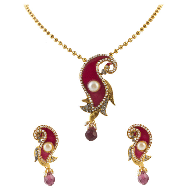 Urthn Pink Pearl Drop Gold Plated Pendant Set