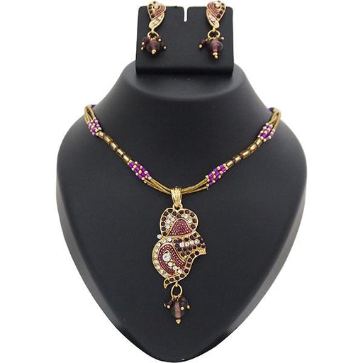 Kriaa Purple Meenakari Austrian Stone Gold Plated Pendant Set