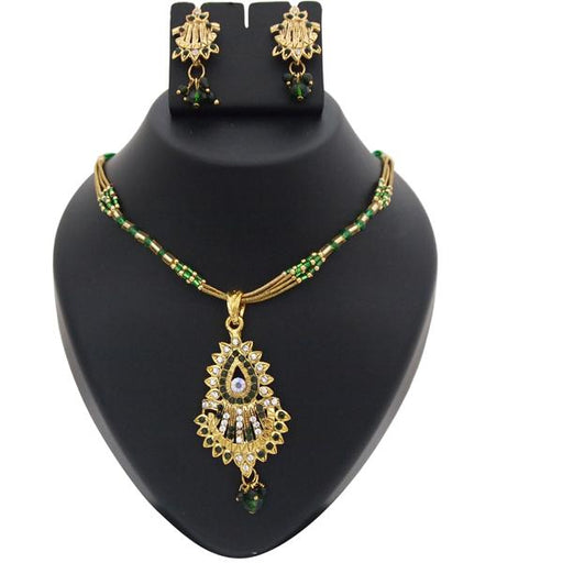 Kriaa Green Austrian Stone Gold Plated Pendant Set