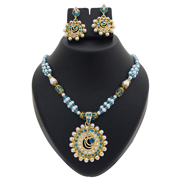 Kriaa Blue Austrian Stone Drop Gold Plated Pendant Set