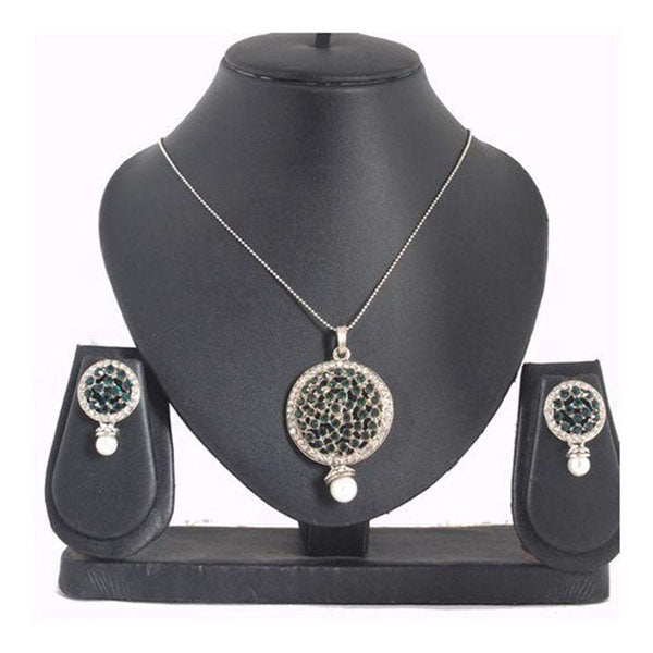 The99Jewel Green Austrian Stone Silver Plated Pendant Set