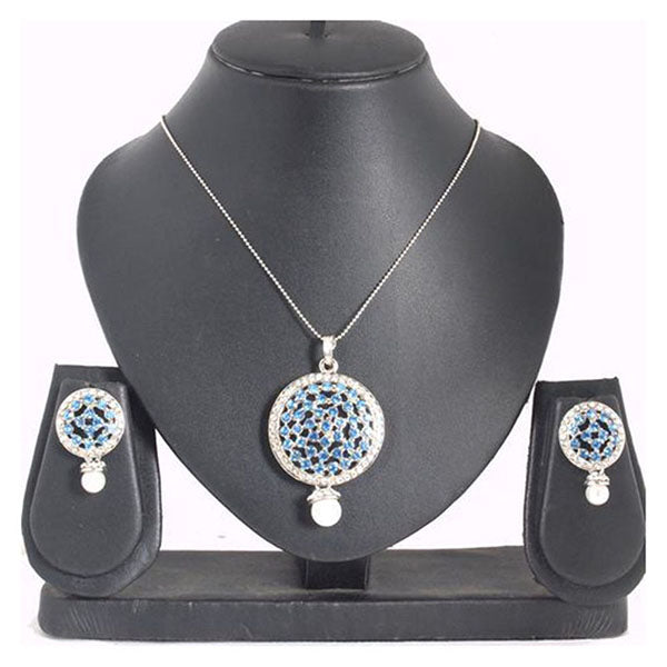 Kriaa Blue Austrian Stone Silver Plated Pendant Set