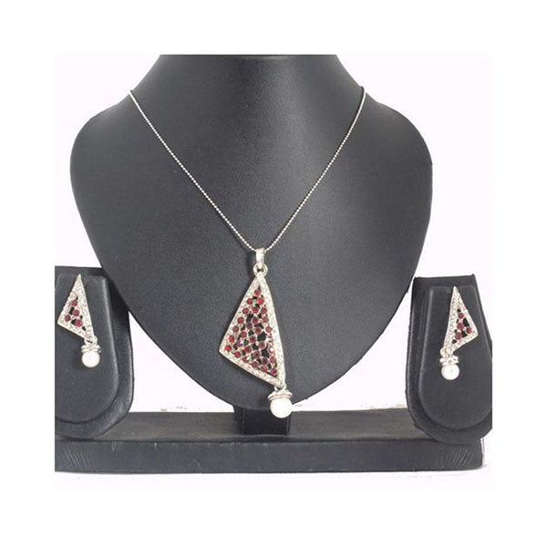 The99Jewel Austrian Stone Silver Plated Pendant Set