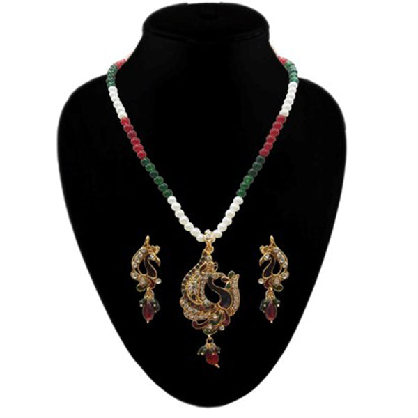 Kriaa Red Meenakari Pearl Gold Plated Pendant Set