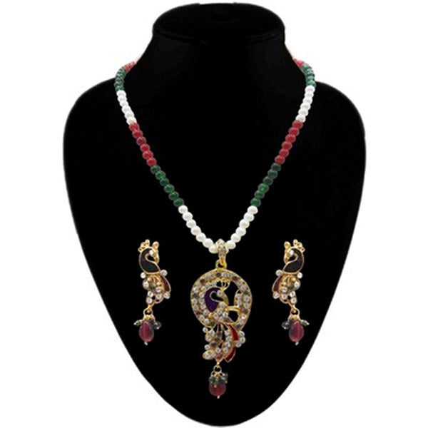 Kriaa Austrian Stone Gold Plated Pearl Pendant Set