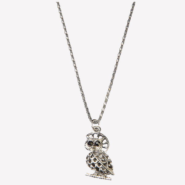 Urthn Rhodium Plated Owl Shape Chain Pendant