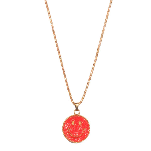 Urthn Red Smiley Gold Plated Chain Pendant